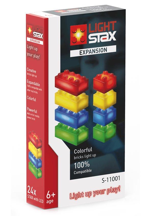 Stavebnice Light STAX Expansion RGBY Stavebnice, 24 dílků, svítící LED kostky, rozšíření, barevné kostky, kompatibilní s LEGO
