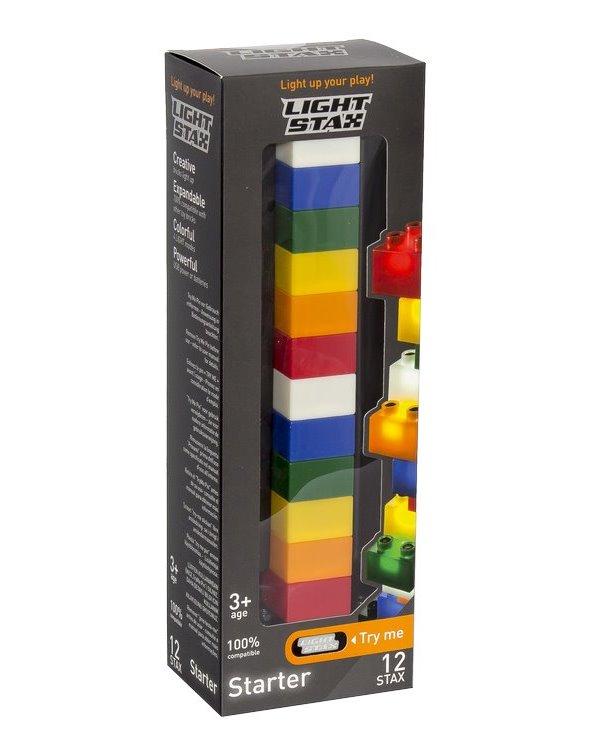 Stavebnice Light STAX Starter 12 STAX 2x2 Stavebnice, 12 dílků, svítící LED kostky, 3x AAA základna, kompatibilní s DUPLO