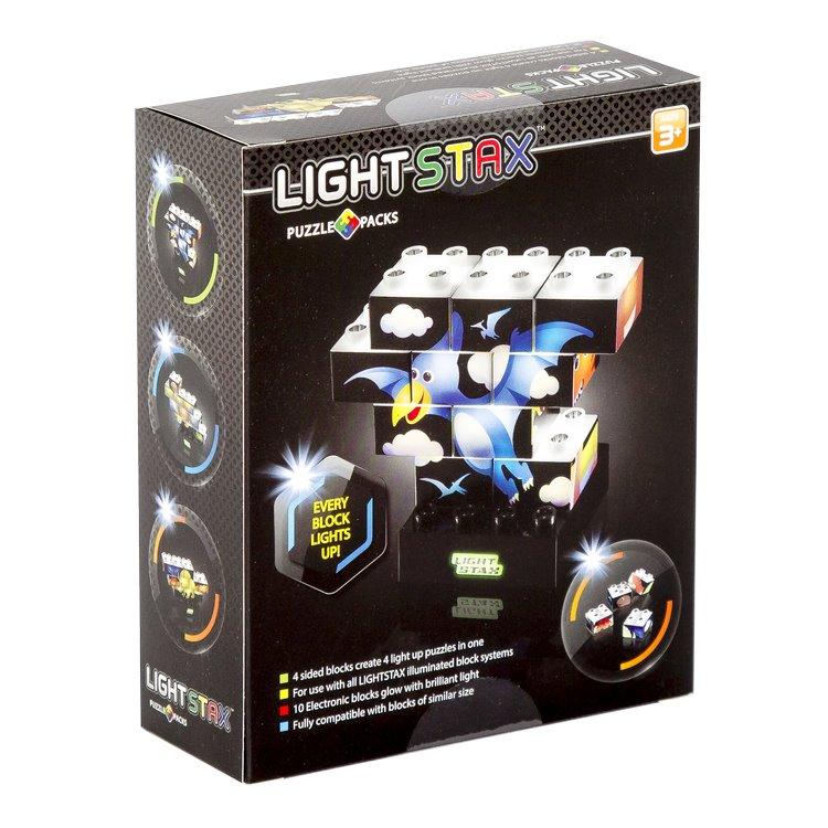 Stavebnice Light STAX PUZZLE SET Dinosaur Stavebnice, 10 dílků, svítící LED kostky, 3x AAA základna, kompatibilní s DUPLO