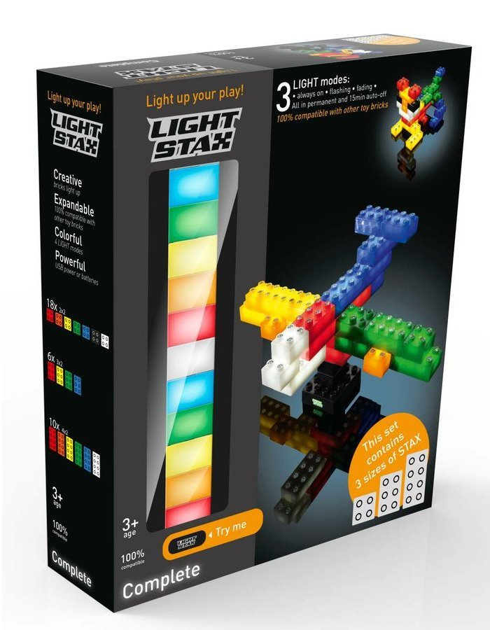 Stavebnice Light STAX Complete Set Stavebnice, 34 dílků, svítící LED kostky, 3x AAA základna, kompatibilní s DUPLO
