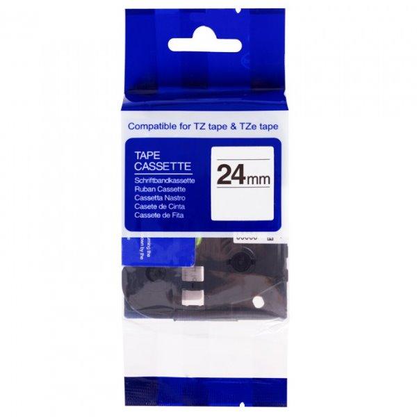 Páska PrintLine kompatibilní s Brother TZE-SE5R Páska, pro tiskárny štítků, kompatibilní s Brother TZE-SE5R, pro Brother PT, 24 mm, černý tisk, červený podklad