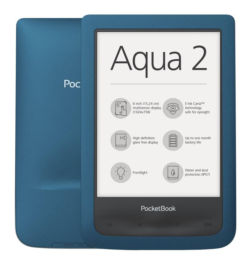 """Čtečka elektronických knih PocketBook 641 Aqua 2 Čtečka elektronických knih, 6"""", 8GB, Wi-Fi, micro USB, čeština, voděodolná, modrá"""