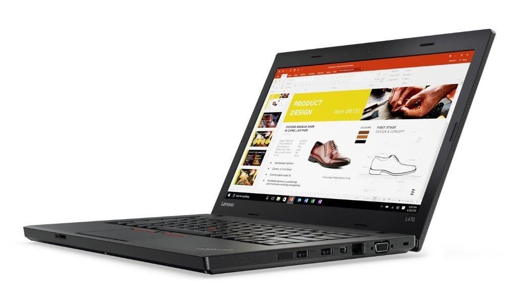 """Notebook Lenovo ThinkPad L470 Notebook, i7-7500U, 8GB, 256GB SSD, Radeon R5 2GB, 14"""" Full HD IPS, W10P, černý"""