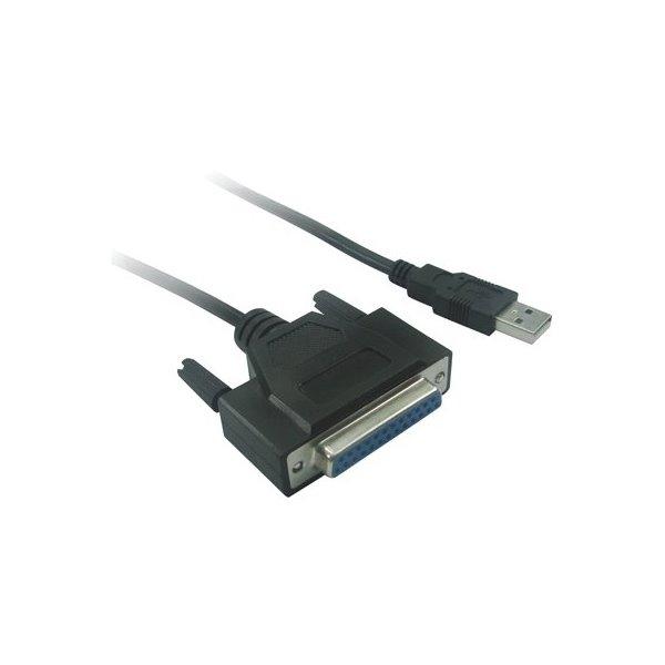 Kabel PremiumCord USB 2.0 na LPT Kabel, propojovací, USB 2.0 - LPT paralelní DB25F, 1m, černý kuprint2