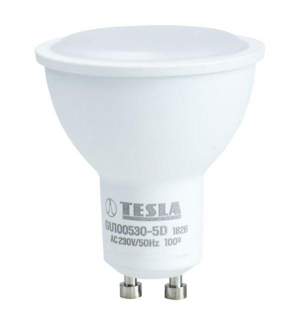 LED žárovka TESLA GU10 5W stmívatelná LED žárovka, GU10, 230V, 5W, teplá bílá, 400lm, 3000K, stmívatelná