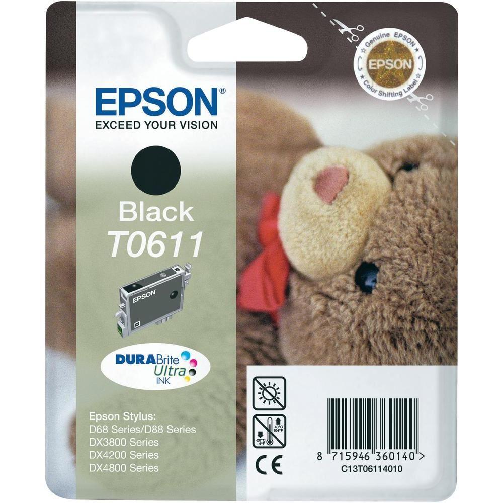 Cartridge inkoustová náplň Epson , C13T061140, Stylus D68, D88, DX3850, DX4850, Černá C13T06114010