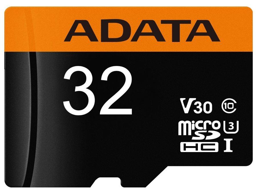 Paměťová karta ADATA Premier Pro Micro SDHC 32GB Paměťová karta, 32GB, microSDHC, UHS-I I3 V30 CL10, bez adaptéru