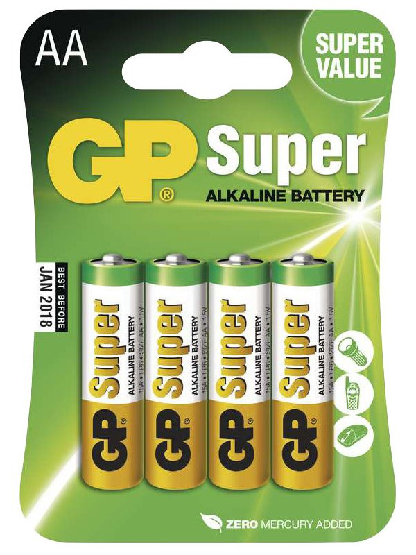 Baterie GP Super 1,5 V AA (LR6) 4 ks Baterie, alkalická, 1,5V, AA, LR6, 4ks blistr