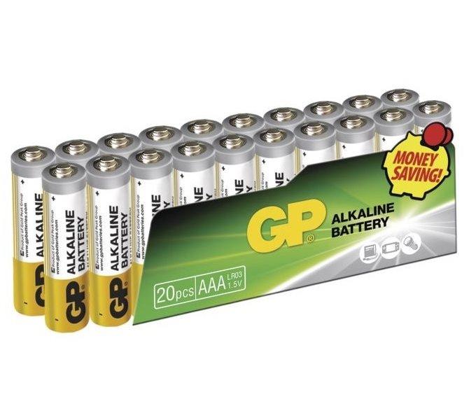 Baterie GP 1,5 V AAA (LR03) 20 ks Baterie, alkalická, 1,5V, AAA, LR03, 20ks fólie