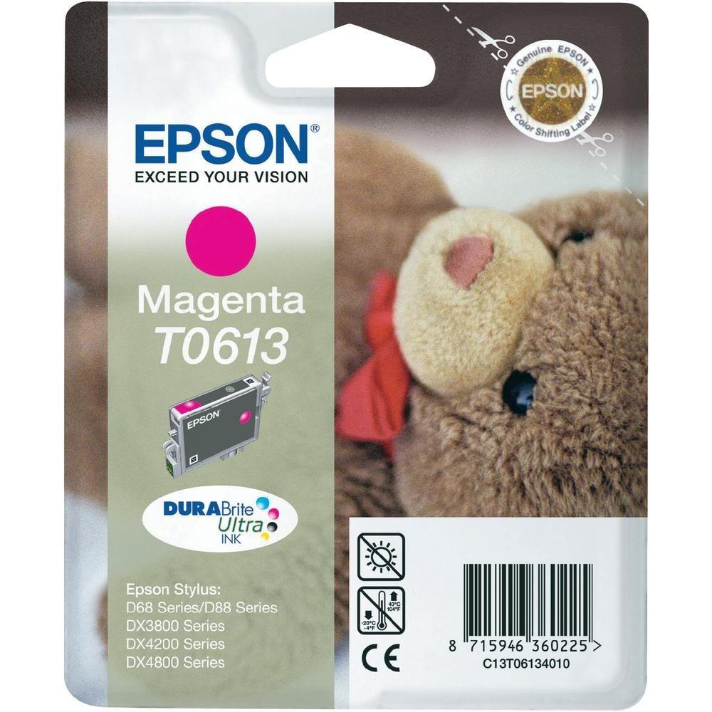 Inkoustová náplň Epson T0613 purpurová Inkoustová náplň, originální, pro Epson Stylus D68, D88, DX3800, DX3850, DX4200, DX4800, DX4850, purpurová C13T06134010