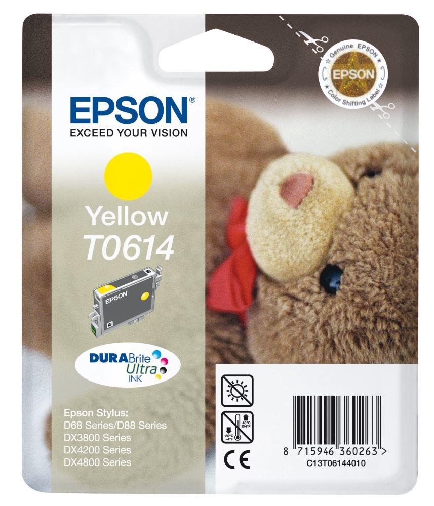 Inkoustová náplň Epson T0614 žlutá Inkoustová náplň, originální, pro Epson Stylus D68, D88, DX3800, DX3850, DX4200, DX4800, DX4850, žlutá C13T06144010