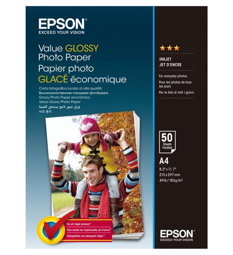 Fotopapír Epson Value Glossy A4 50 ks Fotopapír, A4, lesklý, 183g/m2, 50ks