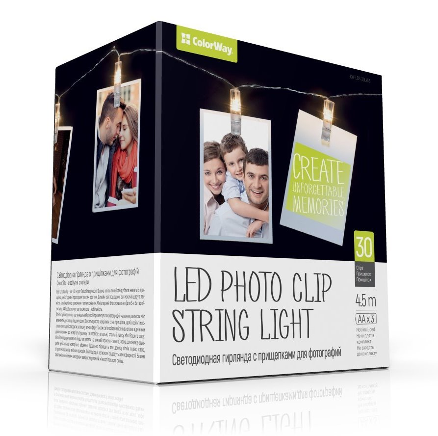COLORWAY LED fotokolíčky / 30 kolíčků / délka 4,5 m / napájení 3x AA
