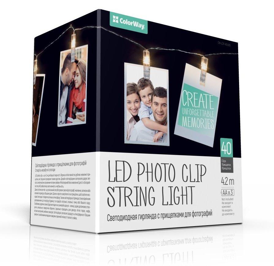 COLORWAY LED fotokolíčky / 40 kolíčků / délka 4,2 m / napájení 3x AA