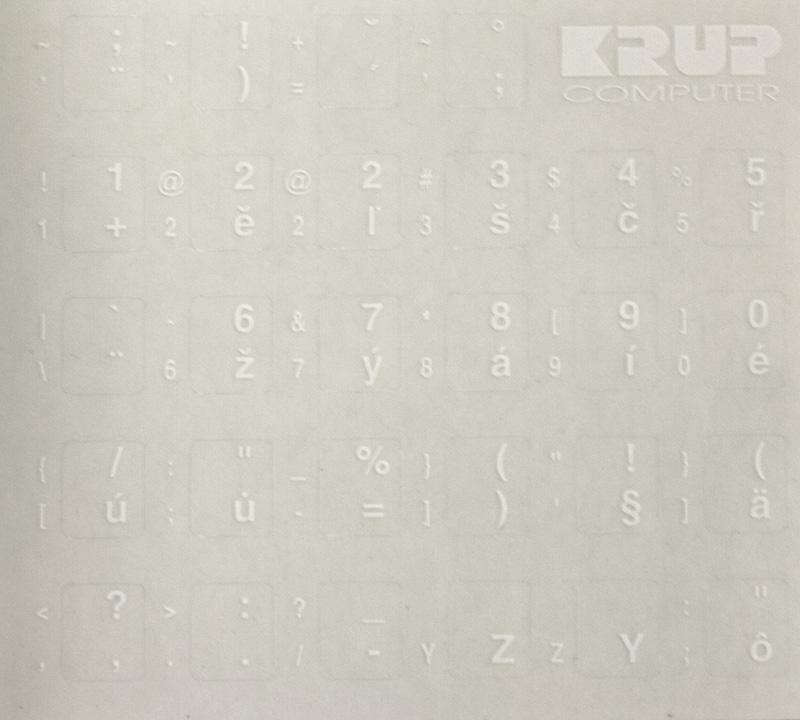 Přelepky na klávesnici OEM CZ bílé Přelepky na klávesnici, CZ, bílé pkczb