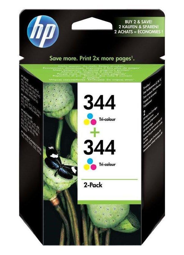 Inkoustová náplň HP 2x344 C9505EE CMY Inkoustová náplň, originální, pro HP DeskJet, Officejet, Photosmart, PSC, doublepack, CMY C9505EE