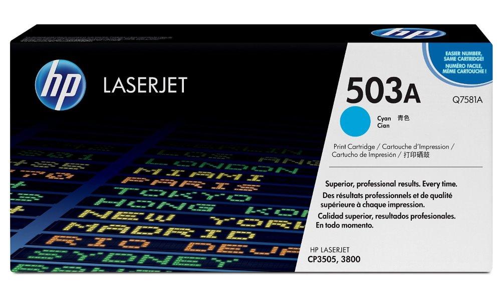 Toner HP 503A Q7581A modrý Toner, originální, pro HP Color LaserJet CP3505, 3800, 6000 stran, modrý Q7581A