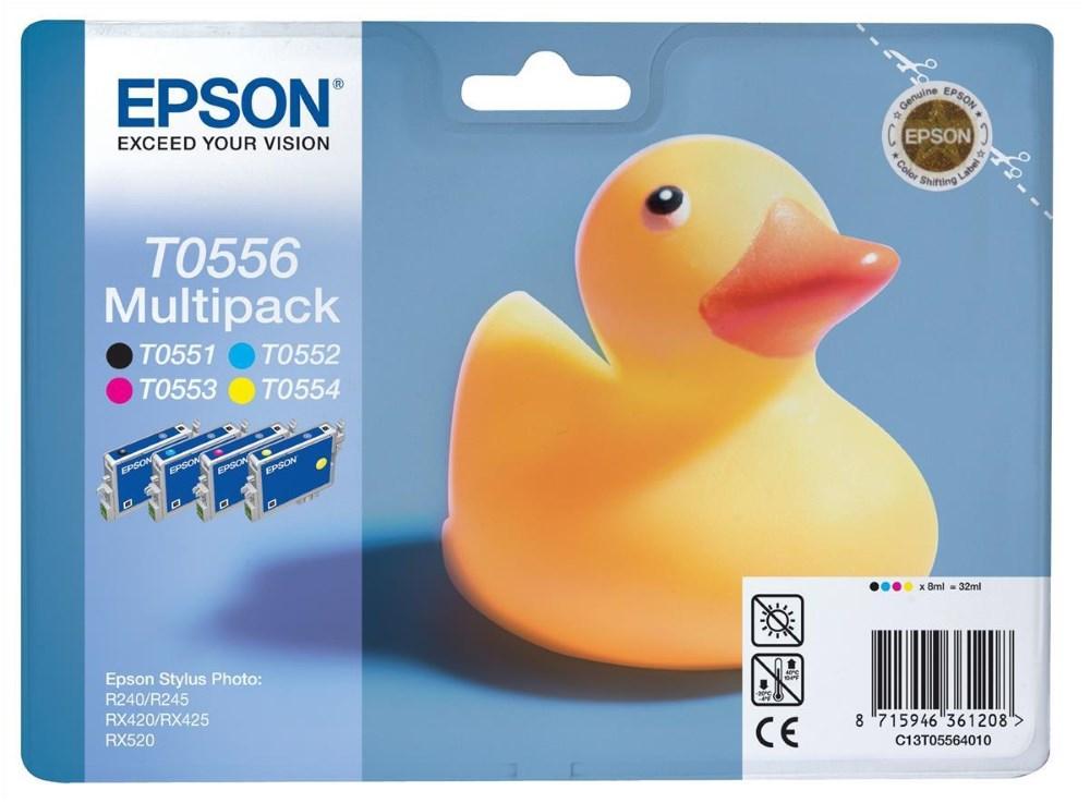 Inkoustová náplň Epson T0556 multipack CMYK Inkoustová náplň, originální, multipack, pro Epson Stylus Photo R240, R245, RX420, RX425, RX520, CMYK