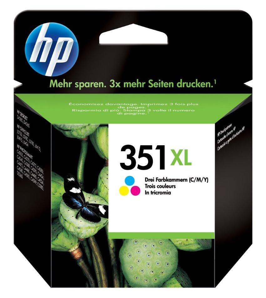 Inkoustová náplň HP 351XL Tri-colour Vivera Inkoustová náplň, 14 ml, výdrž 580 stran, 3 barvy modrá, červená, žlutá CB338EE