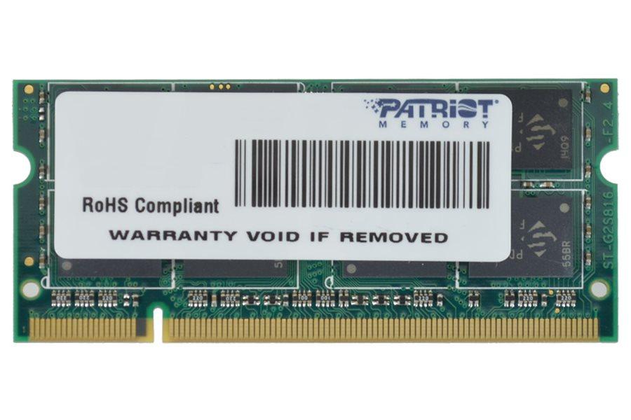 Operační paměť RAM Patriot SO-DIMM 2GB 800MHz Operační paměť, DDR2 2GB SL PC2-6400 800MHz CL6 PSD22G8002S