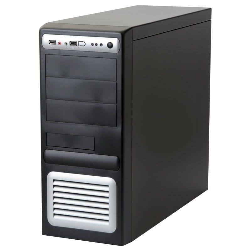 Skříň EUROCASE ML-5435 CARODO PC skříň, middle tower, 450W, 12cm, černostříbrná ML5435CARODO450S9
