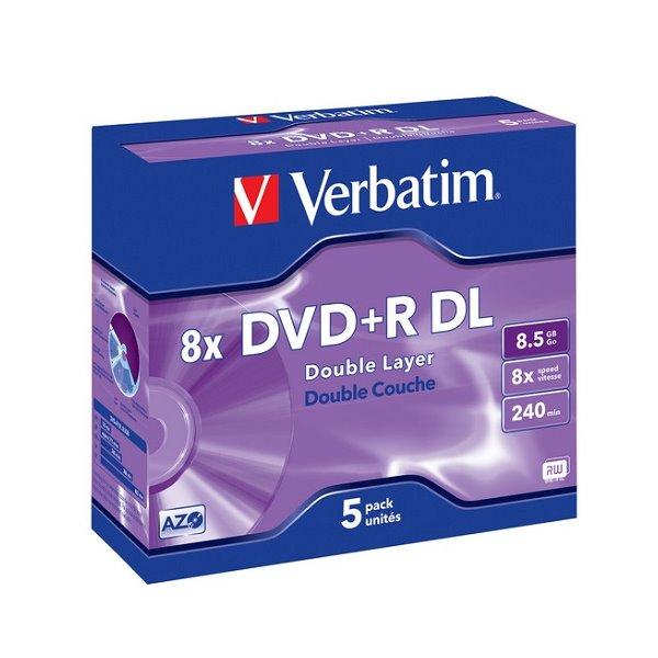 DVD médium VERBATIM DVD+R 8,5GB 5 ks DVD médium, DVD+R, dvouvrstvé, 8,5GB, 8x, 5-pack, Jewel 43541