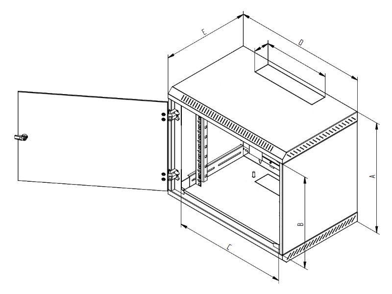 Nástěnný rozvaděč Triton RBA-12-CS4-CAX-A1 Nástěnný rozvaděč, 12U, 400 mm, plech. dvere RBA-12-CS4-CAX-A1