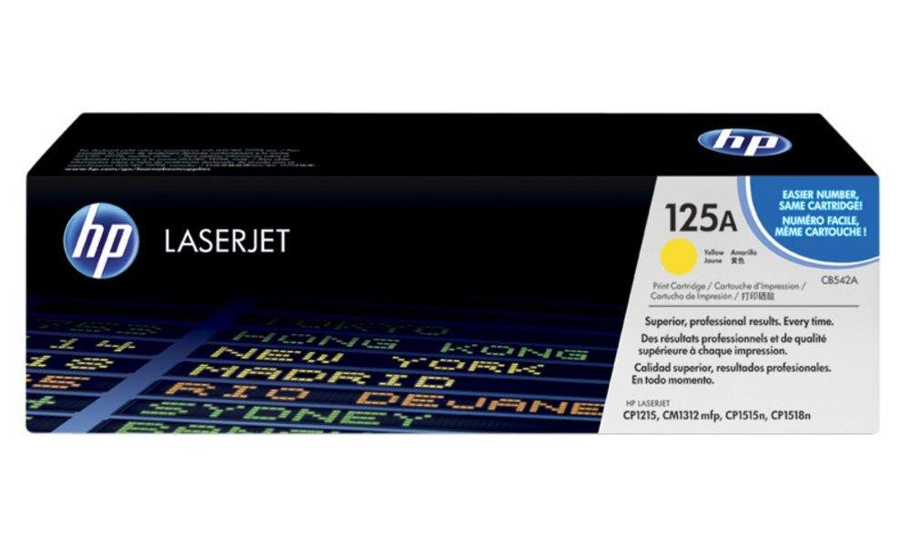 Toner HP 125A CB542A žlutý Toner, originální, pro HP Color LaserJet CP1515n, CP1518ni, CP1215, CM1312, 1400 stran, žlutý CB542A