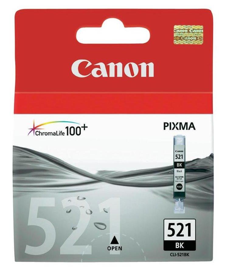 Inkoustová náplň Canon CLI-521Bk černá Inkoustová náplň, originální, pro Canon Pixma iP3600, iP4600, MP540, MP620, MP630, MP980, černá 2933B001