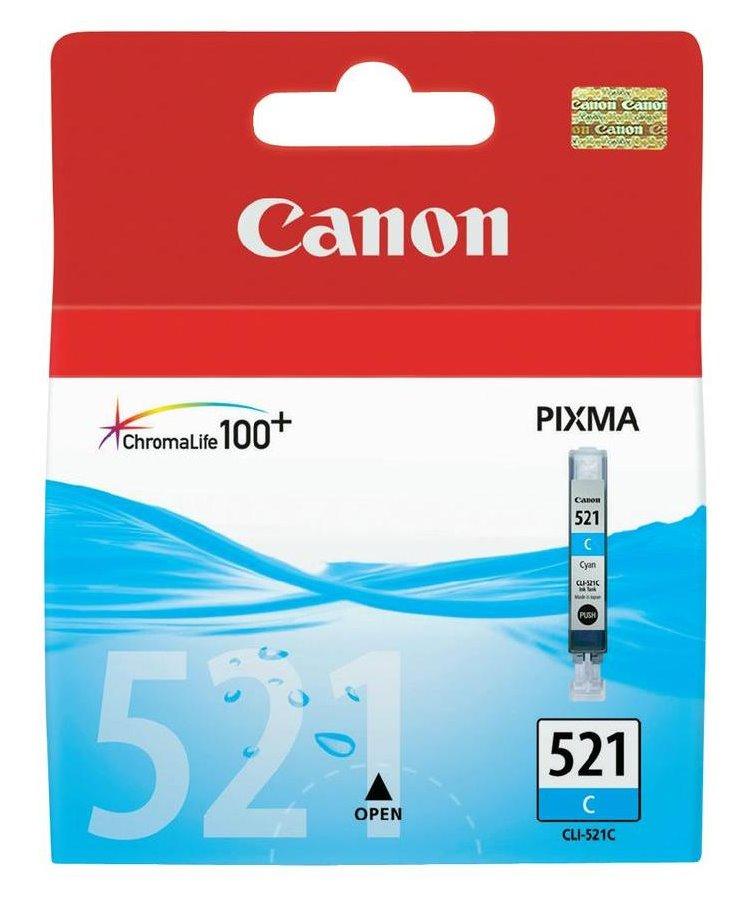 Inkoustová náplň Canon CLI-521C modrá Inkoustová náplň, originální, pro Canon Pixma iP3600, iP4600, MP540, MP620, MP630, MP980, modrá 2934B001