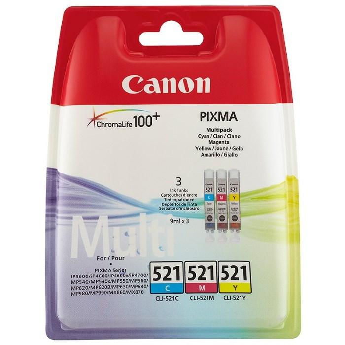 Cartridge inkoustová náplň Canon multipack náplní CLI-521-C+M+Y 2934B010