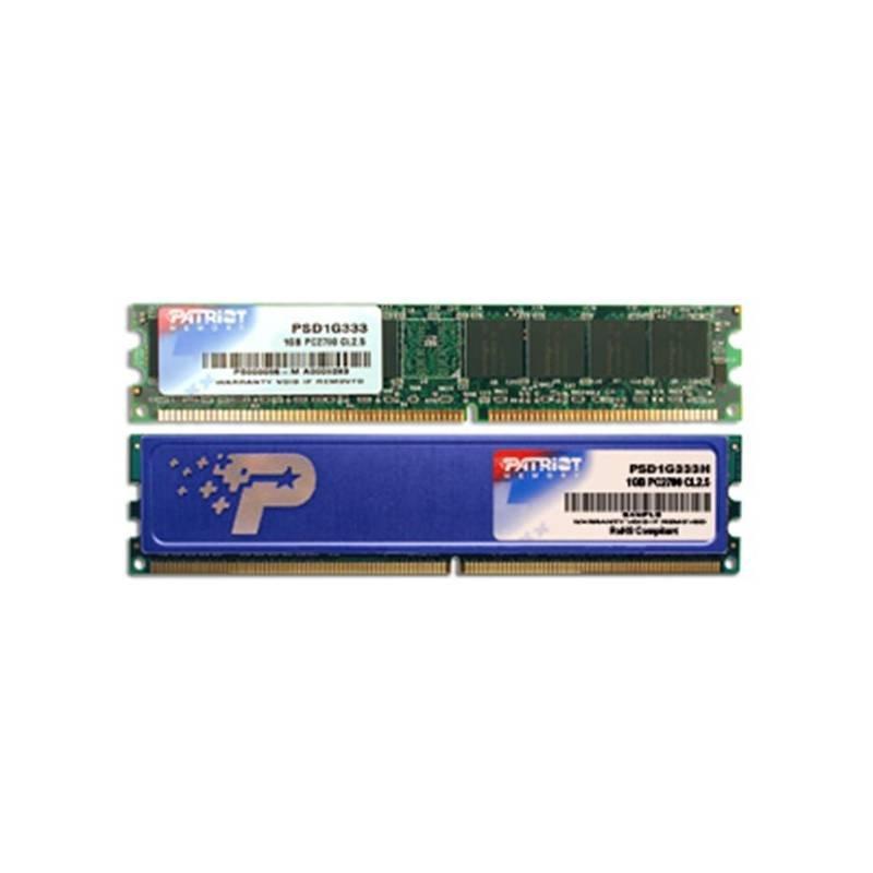 Operační paměť RAM Patriot 1GB 333MHz Operační paměť, DDR 1GB SL PC2700 333MHz CL2,5 PSD1G333