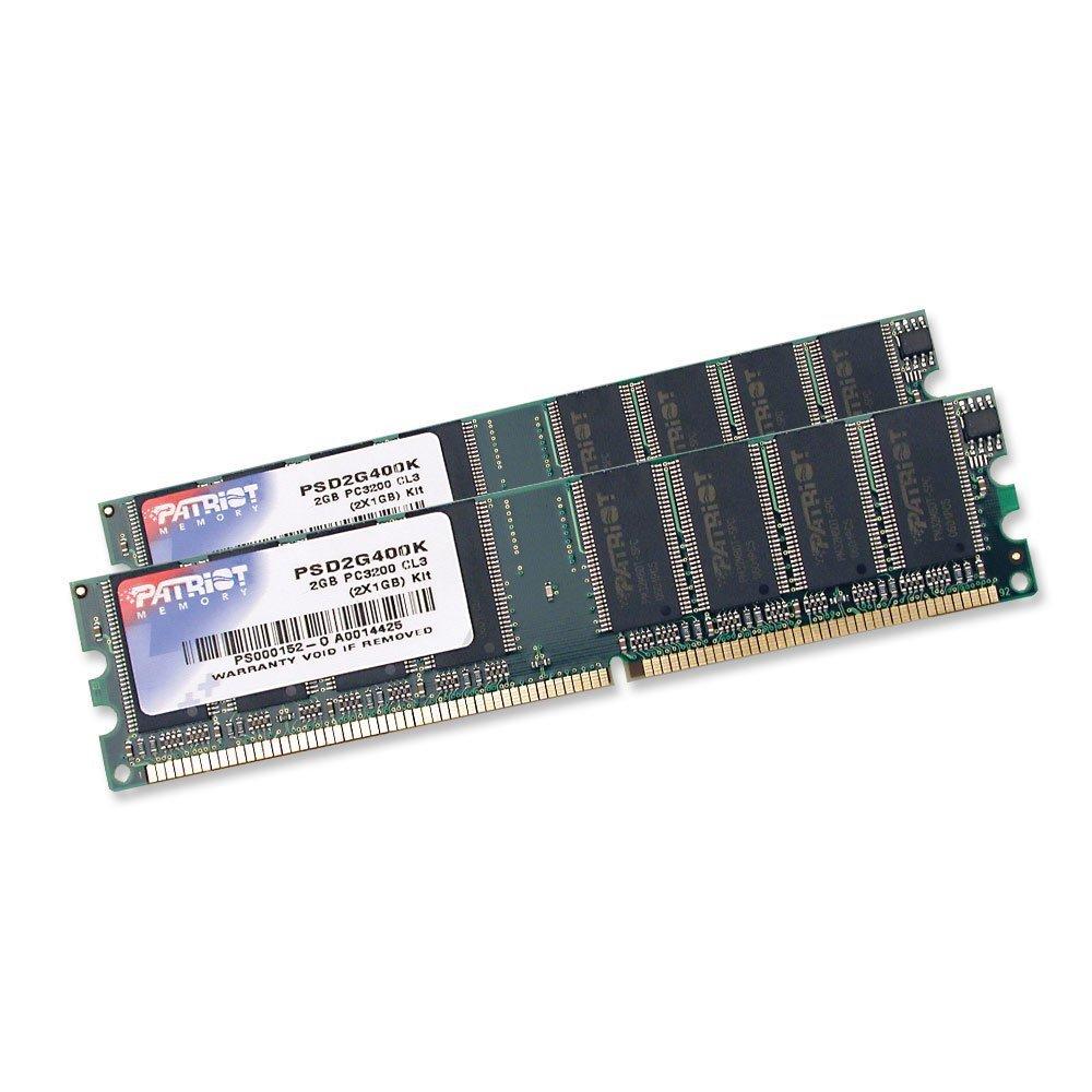 Operační paměť RAM Patriot 2GB 400 MHz Operační paměť, DDR 2GB2x1GB SL PC3200 400MHz CL3 PSD2G400K