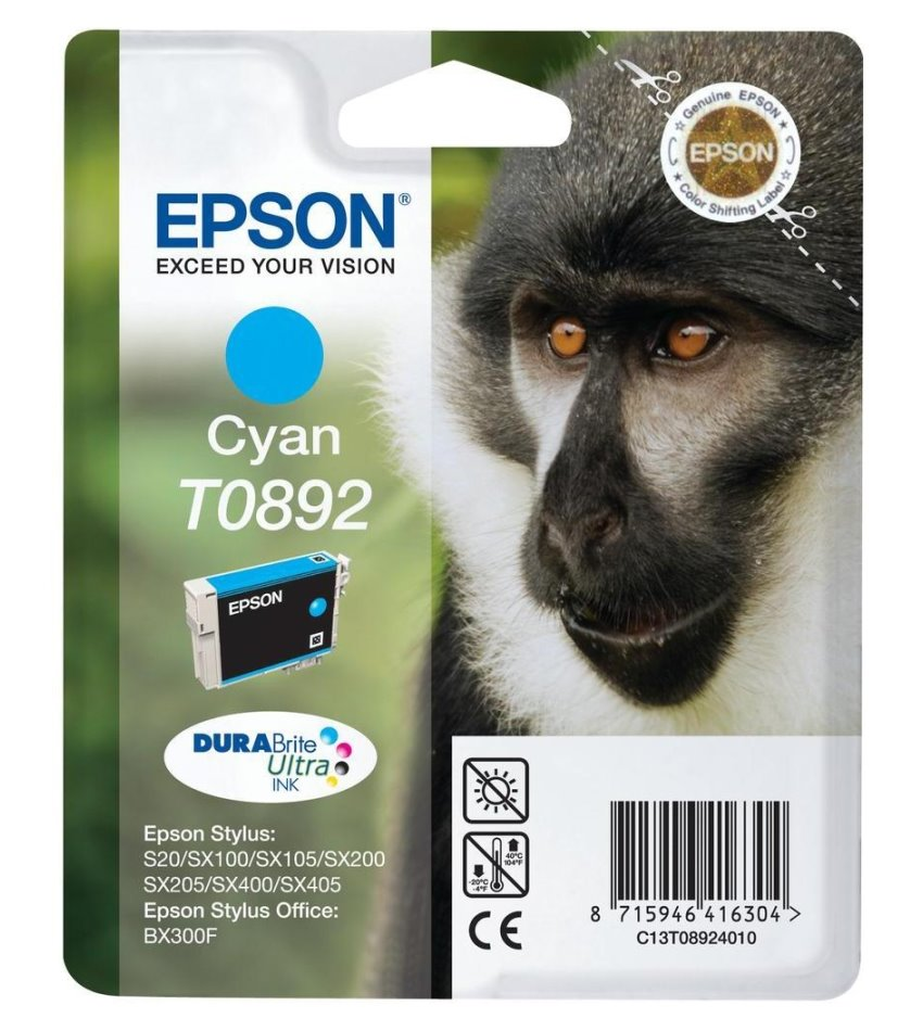 Cartridge inkoustová náplň Epson , C13T089240, S20, SX100, SX200, SX400, Modrá C13T08924010