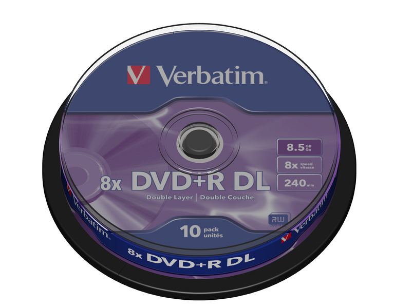DVD médium VERBATIM DVD+R 8,5GB 10 ks DVD médium, DVD+R, dvouvrstvé, 8,5GB, 8x, 10-pack, spindle 43666