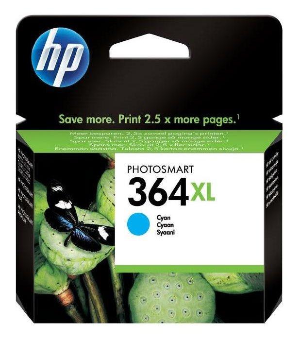 Inkoustová náplň HP 364XL CB323EE modrá Inkoustová náplň, originální, pro HP Photosmart Plus, Premium, Premium Fax, B8550, D5460, C5380, C6380, XL, modrá CB323EE