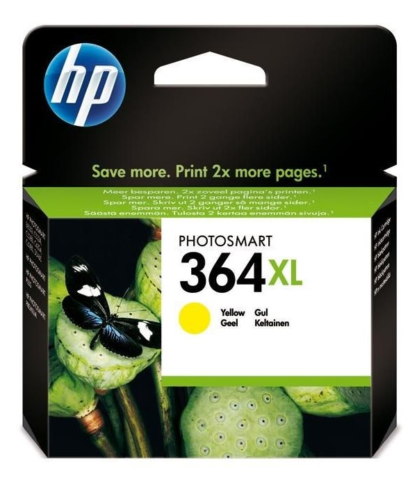 Inkoustová náplň HP 364XL CB325EE žlutá Inkoustová náplň, originální, pro HP Photosmart Plus, Premium, Premium Fax, B8550, D5460, C5380, C6380, XL, žlutá CB325EE