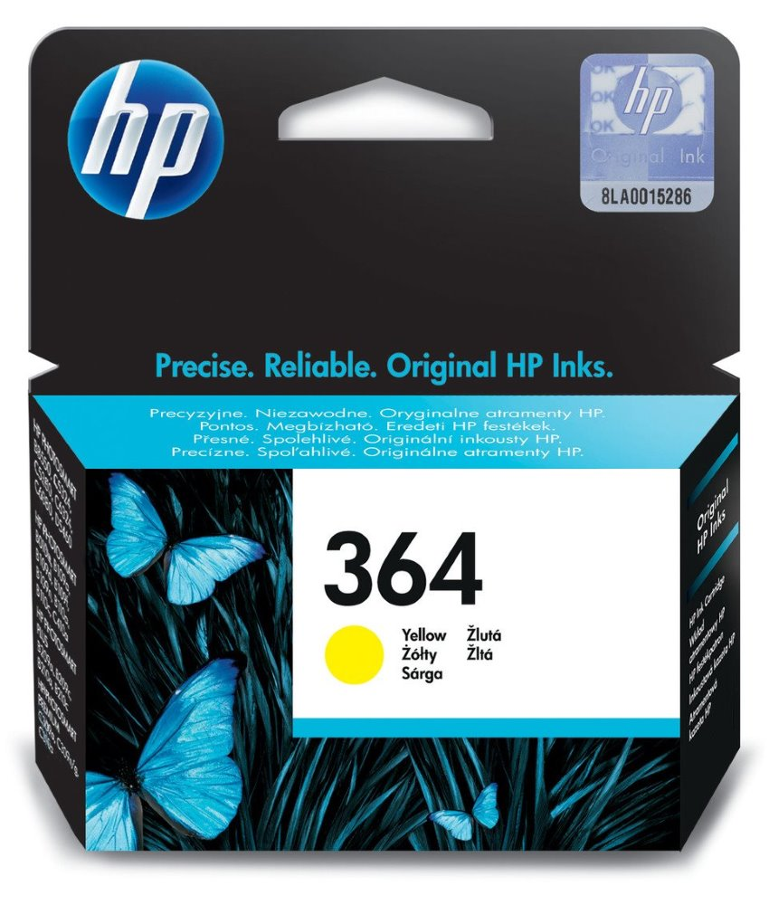 Inkoustová náplň HP 364 CB320EE žlutá Inkoustová náplň, originální, pro HP Photosmart Plus, Premium, Premium Fax, B8550, D5460, C5380, C6380, žlutá CB320EE