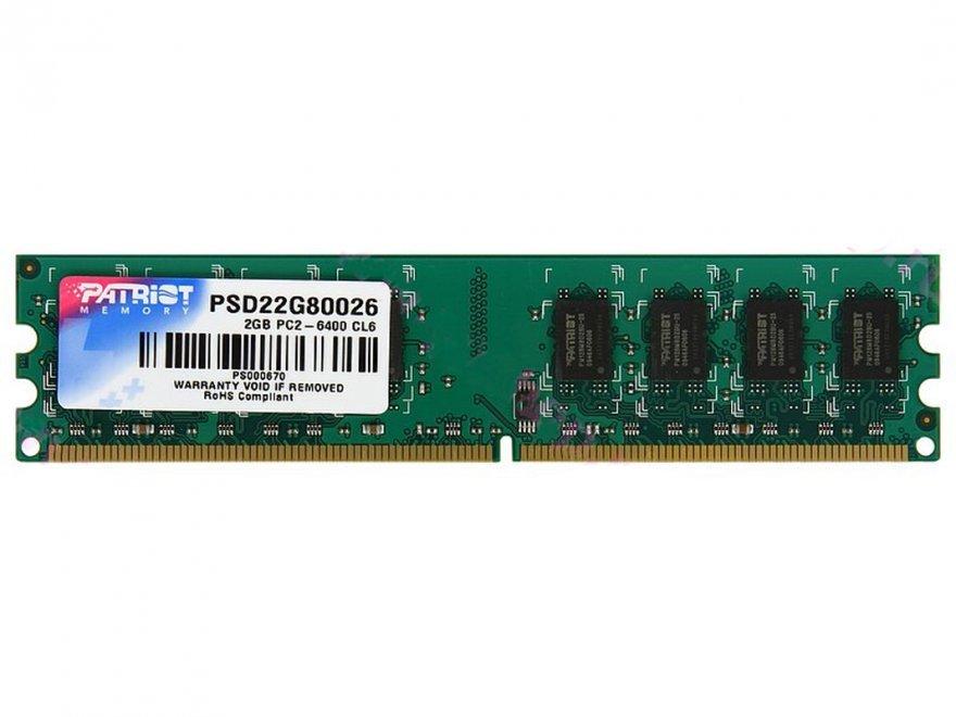 Operační paměť RAM Patriot 2GB 800MHz Operační paměť, DDR2 2GB SL PC2-6400 800MHz CL6 PSD22G80026