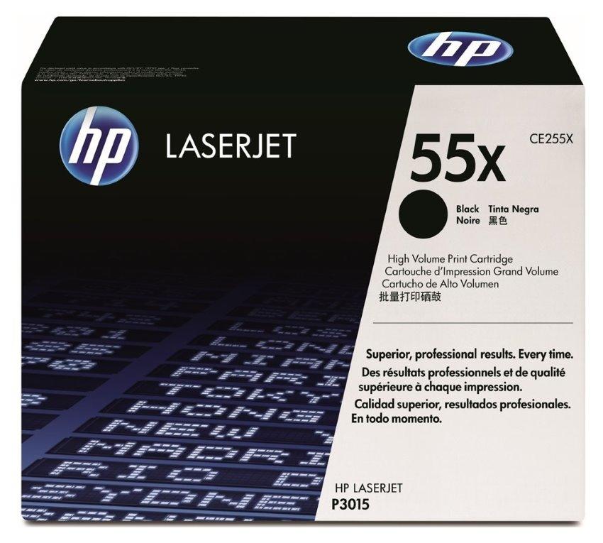 Toner HP 55X (CE255X) černý Toner, originální, pro HP LaserJet P3015, 13000 stran, černý