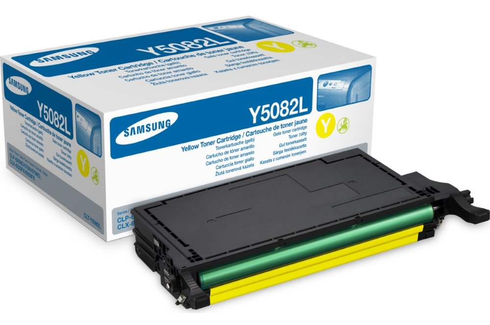 Toner Samsung CLT-Y5082L žlutý  Toner, originální, pro Samsung CLP-620ND, CLP-670N, CLP-370ND, CLX-6220FX, CLX-6250FX, 4000 stran, žlutý