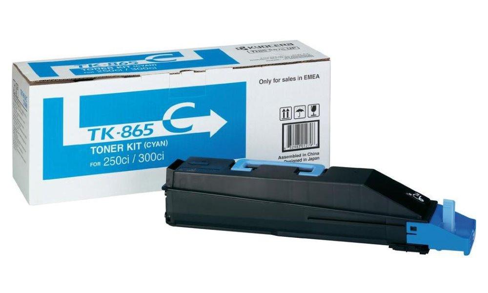 Toner Kyocera TK-865C modrý Toner, originální, pro Kyocera TASKalfa 250ci, 12 000 stran, modrý
