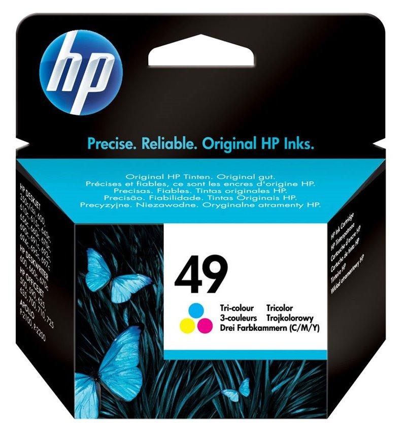 Inkoustová náplň HP 49 51649AE CMY Inkoustová náplň, originální, pro HP DeskJet 6xx, Deskwriter 6xx, PSC 3xx, Officejet 5xx, 6xx, 7xx, CMY 51649AE