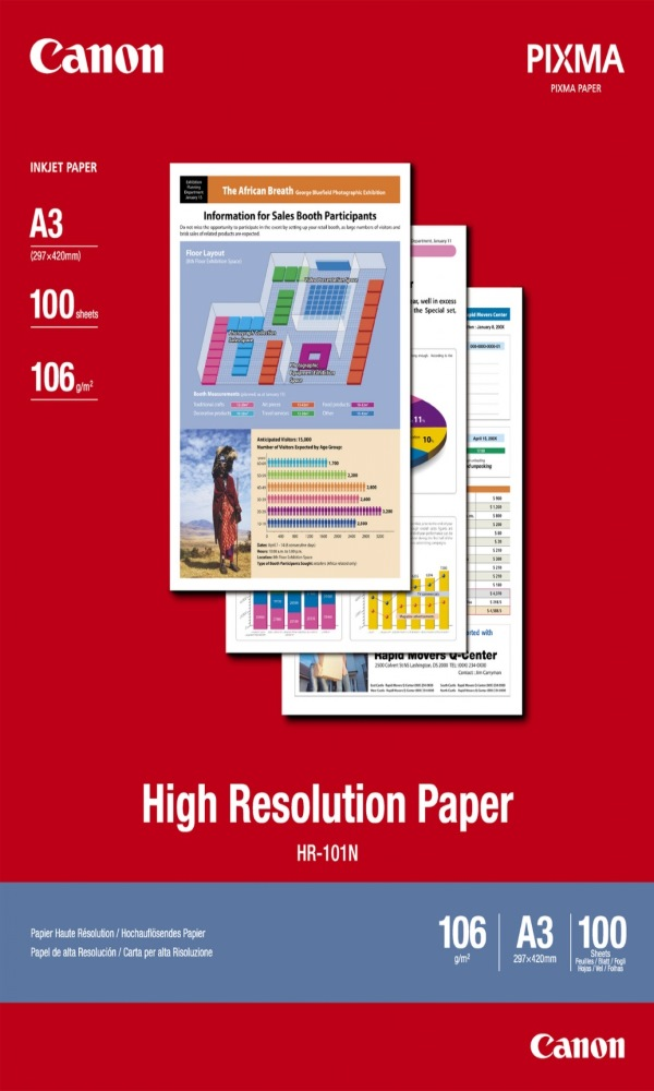 Fotopapír Canon High Resolution HR-101 A3 Fotopapír, A3, matný, 106g, 100ks 1033A005