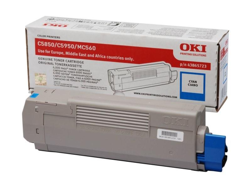 Toner OKI 43865723 modrý Toner, pro OKI C5850, C5950, MC560, MC560n, MC560dn, 6000 stran, modrý 43865723