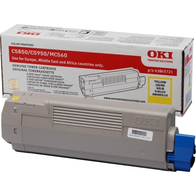 Toner OKI 43865721 žlutá Toner pro C5850, C5950, MC560, MC560n, MC560dn, 6000 stran, žlutá 43865721