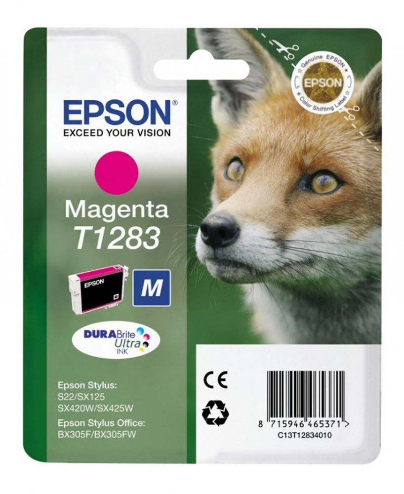 Cartridge inkoustová náplň Epson , C13T128340, S22, SX125, SX425W, BX305F, Magenta C13T12834010