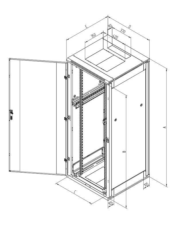 Stojanový rozvaděč Triton RZA-32-L89-CAX-A1 Stojanový rozvaděč, 32U, 800x900, rozebíratelný, perforované přední dveře RZA-32-L89-CAX-A1