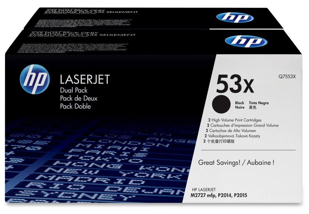 Toner HP 53X Q7553XD dvojpack černý Toner, originální, pro HP LaserJet P2014, P2015, M2727, dvojpack, 2 x 7000 stran, černý Q7553XD