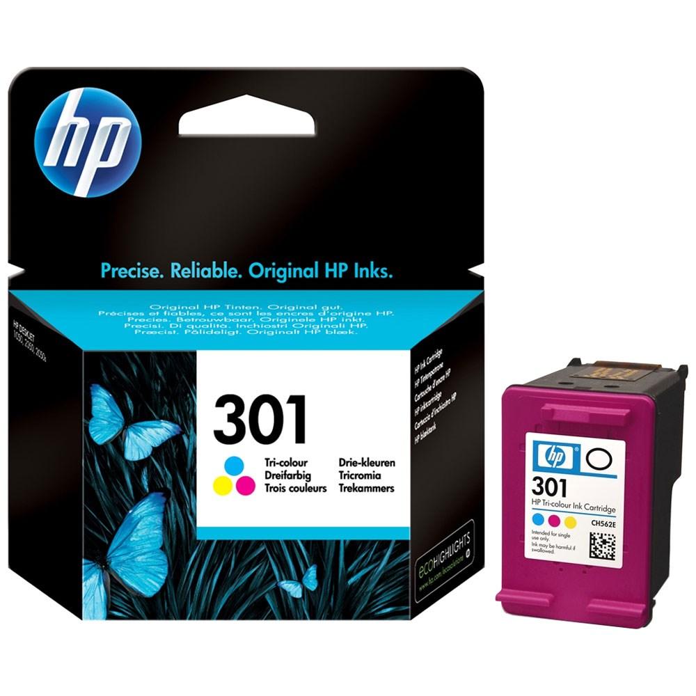 Inkoustová náplň HP 301 CH562EE CMY Inkoustová náplň, originální, pro HP DeskJet 1510, 2050, 2050A, 3050, 3050A, D1000, D3000, 1050A, CMY CH562EE
